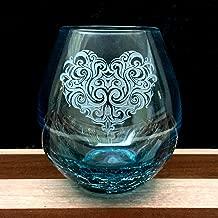 Integrity Bottles Crackle Teal Stemless Wine Glass, Hand Etched Tribal Heart Design, Sand Carved