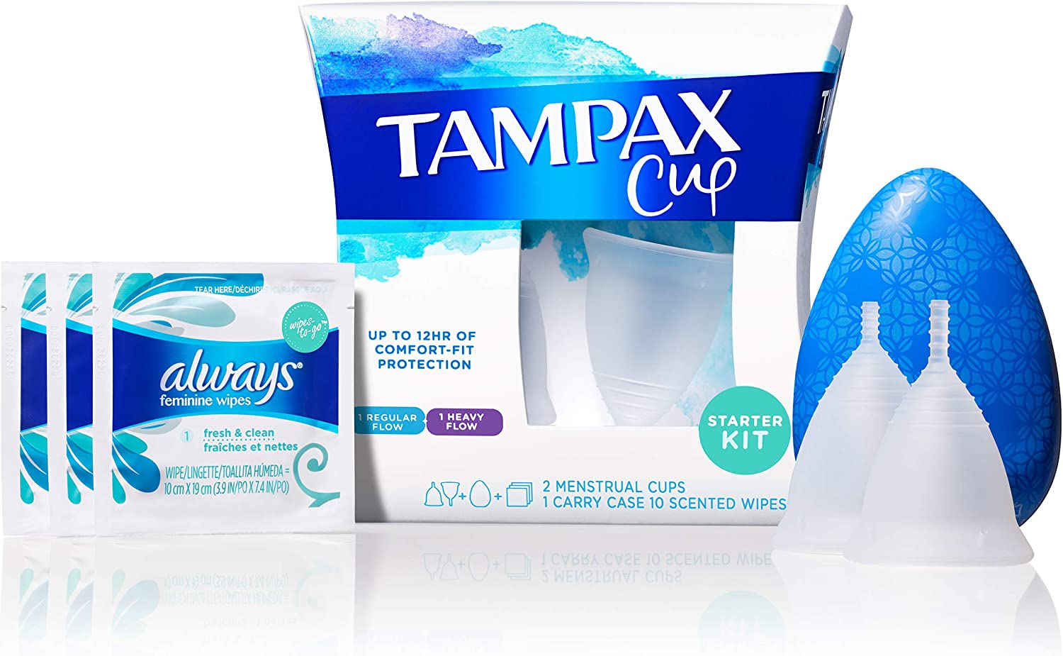 Tampax Menstrual Cups Starter Kit, Tampon Alternative, Heavy and