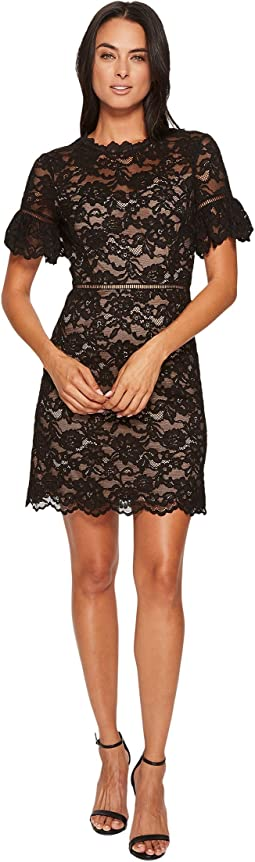 Short Sleeve Open Back Lace Dress