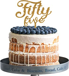 Fifty Five Happy Birthday Cake Topper Gold Glitter Acrylic Cake Topper 55th Years Old Party Decoration Gifts.