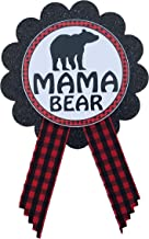 Mama Bear Button Pin Buffalo Plaid Baby Shower for mom to be to wear at Gender Reveal, Red & Black Pin, Baby Sprinkle