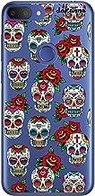 dakanna Funda para [Alcatel 1S 2019] de Silicona Flexible, Dibujo Diseño [Pattern Calaveras de azucar Estilo Mexicano con Flores], Color [Fondo Transparente] Carcasa Case Cover de Gel TPU