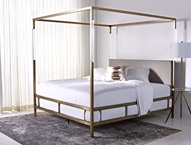 Safavieh Couture Collection Dorothy Gold and Grey Velvet Acrylic King Bed Canopy