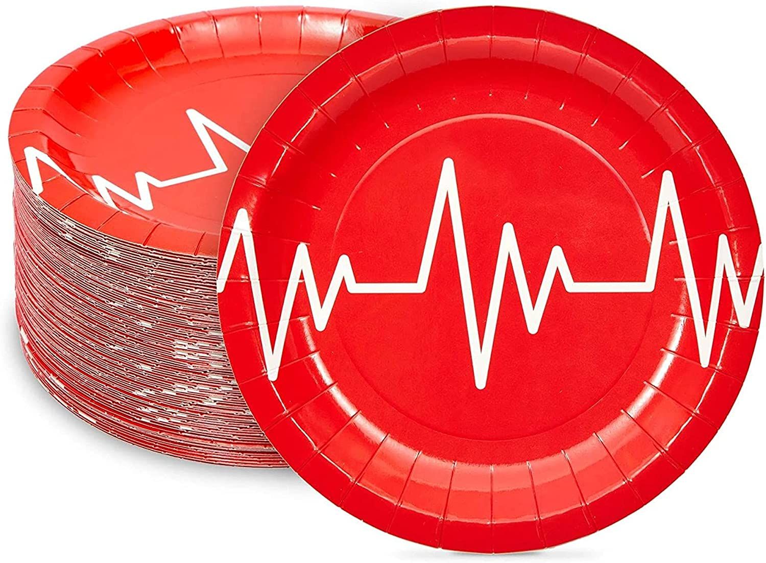 Nurse Graduation Party Supplies, Red Paper Plates (7 In, 80 Pack)