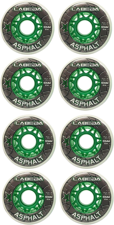 LABEDA wheels Inline Roller Hockey Gripper Asphalt Outdoor White 80mm 83A x8