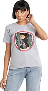 Wild Side Graphic Printed Regular Fit T-shirt For Women's Grey Dillinger by Styli