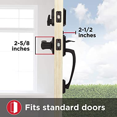 Kwikset Prescott Single Cylinder Front Door Handleset with Tustin Lever Featuring SmartKey Security and Microban Antimicrobia