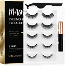 easbeauty 2020 Upgraded Magnetic Eyeliner and Eyelashes Kit, Magnetic Eyelashes with Eyeliner, False Lashes 5 Pairs with T...