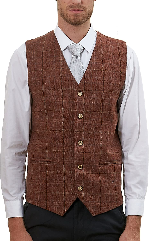 Hanayome Men's Slim Fit Classic Tweed Suits Vest Premium Wool Blend Waistcoat