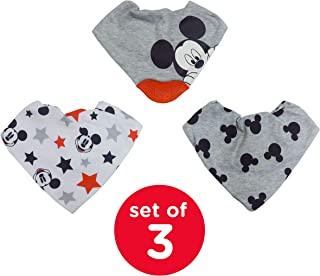 Disney Neat Solutions Mickey Mouse 3 Pack Infant Scarf Bib with Teether, Grey Heather