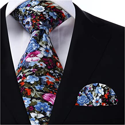 HISDERN Men's Cotton Floral Ties & Pocket Square Set Skinny Flower Neck Ties for men,Great for Wedding,Church,Gift