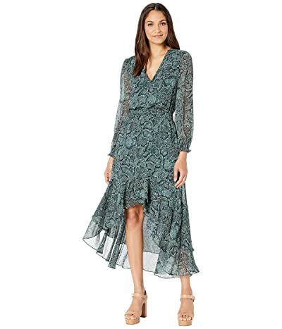 1.STATE Long Sleeve Wrap Front Snake Print Midi Dress (Pine Grove) Women