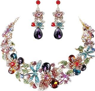 YADOCA Wedding Bridal Necklace Earring Jewelry Set for Women Vintage Statement Necklace Teardrop Dangle Earring for Brides...