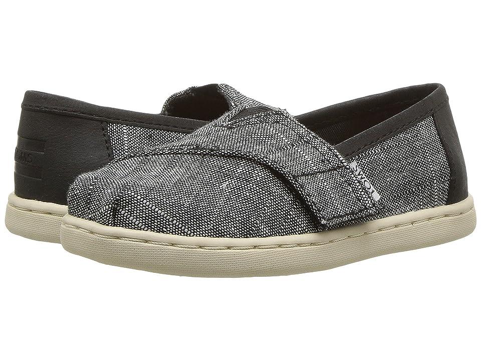 a6279f1dbdb TOMS Kids Alpargata (Infant Toddler Little Kid) (Black Textured Chambray) Boy s  Shoes