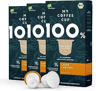 My Coffee Cup – CAFFÈ CARAMEL – BIO-KAFFEE 3 PACKUNGEN I 30 Kaffeekapseln für Nespresso³-Kapselmaschinen I 100% industriell kompostierbare Kaffeekapseln – 0% Alu I Nachhaltige Kaffeekapseln