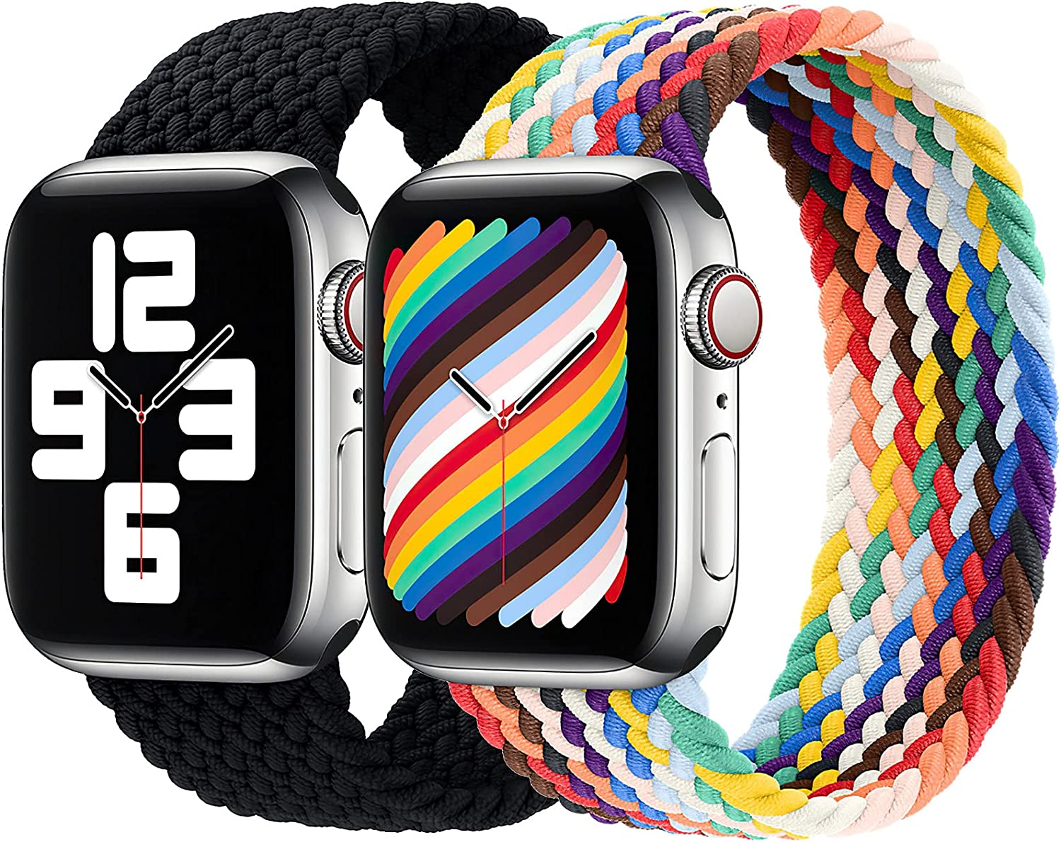Girovo 2 Packs Solo Loop Strap Compatible with Braided Sport Apple Watch Band 38mm 40mm, Soft Stretchy Braided Wristband for iWatch Series 1/2/3/4/5/6/SE, Charcoal & Pride Edition, M