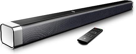 Barra de Sonido 2.0 Canales, Potencia 110dB, BOMAKER Tecnología DSP Subwoofer Incorporado + Bluetooth para TV, Soporte Óptico, 3,5 mm Audio AUX, USB, Diseñado para Cine en Casa, ODINE I, Negro-Gris