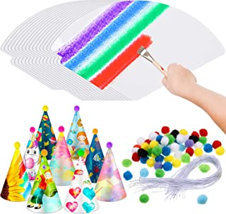 60 Pieces White Paper Party Cone Hats DIY with 60 Pieces Elastic Strings, 60 Pieces Poms and 100 Pieces Adhesive Dispensin...