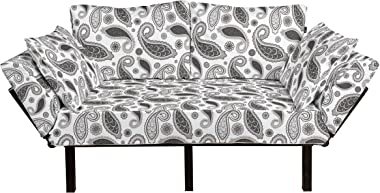 Ambesonne Paisley Futon Couch, Minimalist Oriental Florets Leaves Dark Colors Iranian Culture Featured Image, Daybed with Met