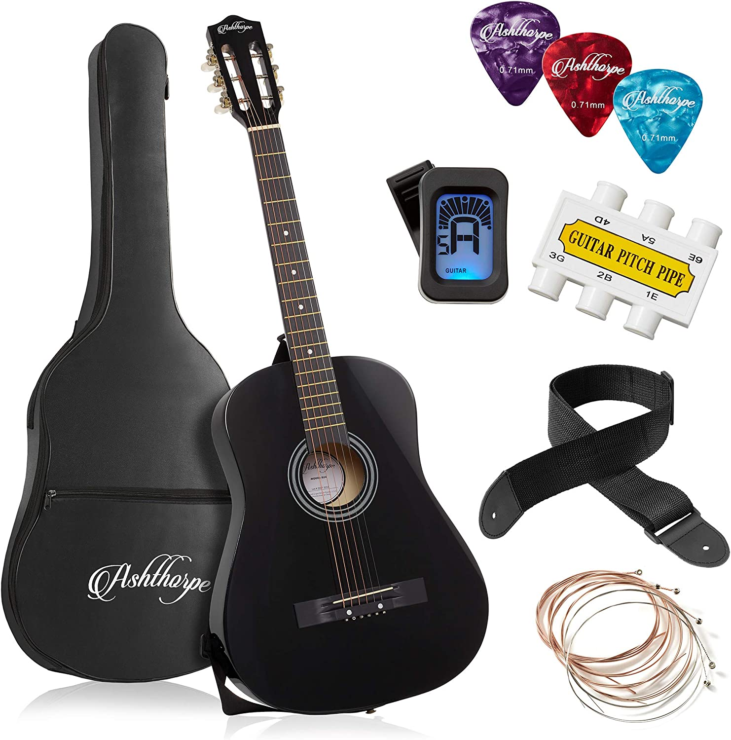 Ashthorpe Cash Popular brand in the world special price 38-inch Beginner Acoustic Basi Black Package Guitar
