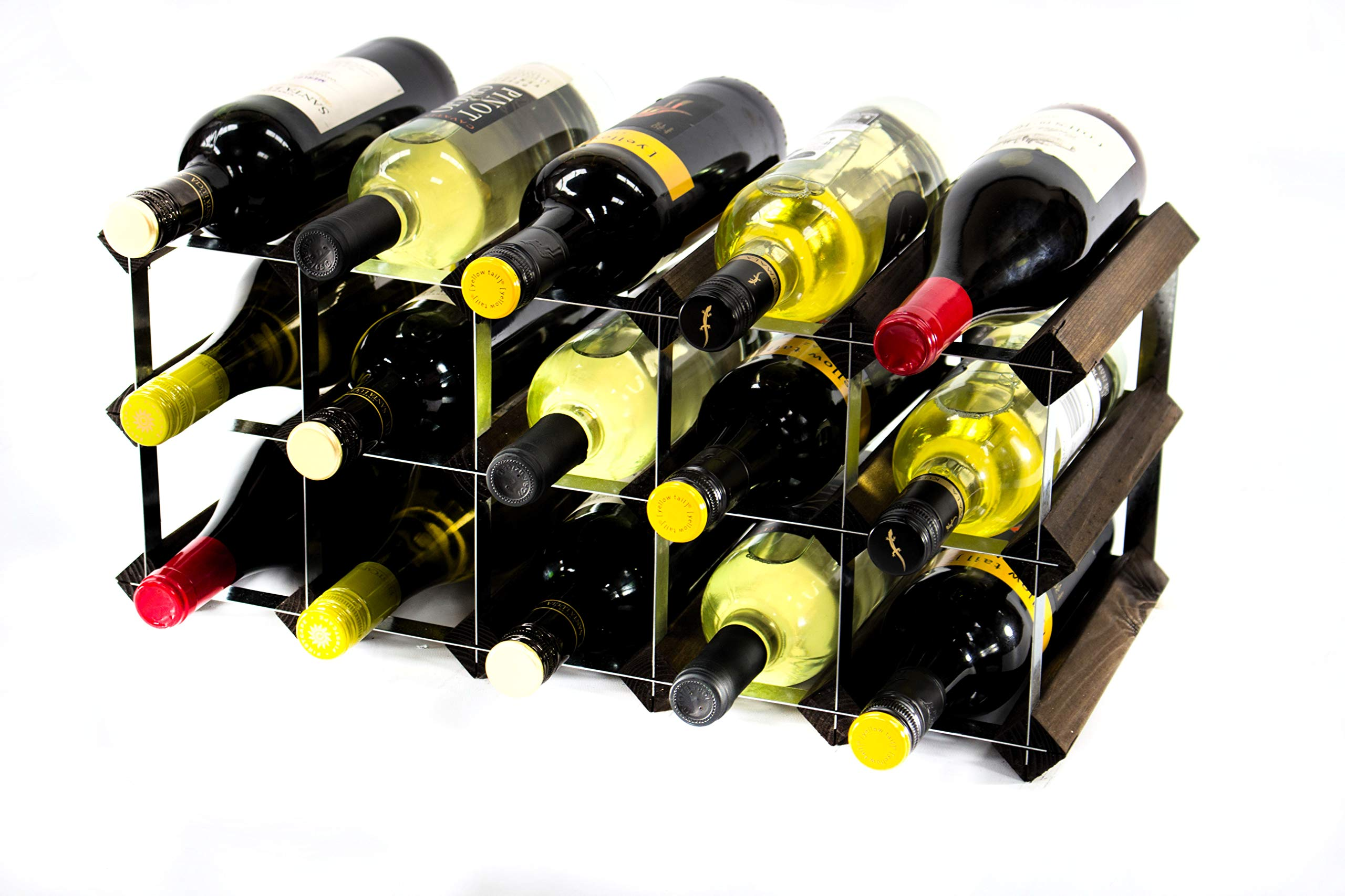 Classic 90 bottle pine wood and galvanised metal wine rack ready assembled