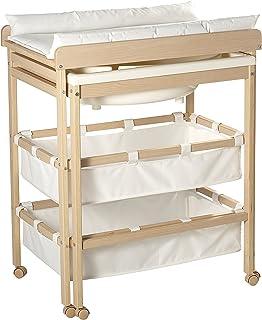 roba Combinaison baignoire-table à langer en bois naturel, table à langer avec baignoire coulissante et avec matelas à lan...