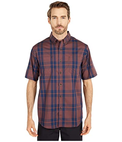 Dickies Relaxed Fit Flex Short Sleeve Plaid Shirt (Navy Spice/Brown Plaid) Men