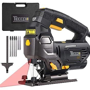 Seghetto Alternativo, TECCPO 800W 3000SPM Seghe con Guida Laser, Lame da 6 Pezzi, Custodia da Trasporto, Angolo di Taglio Inclinato (-45 ° -45 °), 6 Velocità Regolabili, Cavo da 2m -TAJS01P