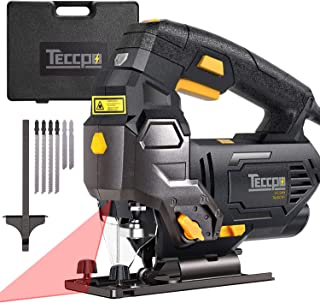 TECCPO Jigsaw, 3000 SPM Jigsaw with Laser, Tool-free Switching Angle(-45�-45�), Variable Speed, 6 Blades, Carrying Case, Scale Ruler, Pure Copper Motor -TAJS01P