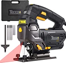 TECCPO Jigsaw, 6.5 Amp 3000 SPM Jigsaw Tool with Laser, Variable Speed,Tool-free Switching Angle(-45°-45°), Carrying Case,...