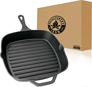 "Backcountry Cast Iron 10"" Medium Square Grill Pan (Pre-Seasoned for Non-Stick Like Surface, Cookware Range/Oven/Broiler/Gr..."
