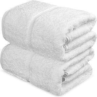 Towel Bazaar 100% Turkish Cotton Bath Sheets, 700 GSM, 35 x 70 Inch, Eco-Friendly (2 Pack, White)