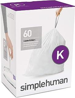 simplehuman Code K Custom Fit Drawstring Rubbish Bags, 35-45 Liter / 9-12 Gallon, White, 60 Count