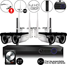 CAMVIEW Wireless Security Home Surveillance System 8CH 1080P WiFi NVR Kits + 4Pcs 2.0MP Wireless IP CCTV Cameras, Audio-in Plug, 65FT Night Vision, Half-Stream, 2TB HDD Pre-Installed