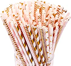 Hiware 200-Pack Pink/Gold Party Paper Straws - 8 Different Patterns Pink Straws/Gold Straws for Party, Birthday, Wedding, ...