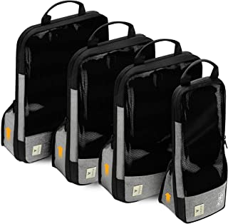 Premium Travel Compression Packing Cubes – [4 Set] Luggage Organizer Bags – Save 60% Of Space In Luggage – Smart Travel & ...