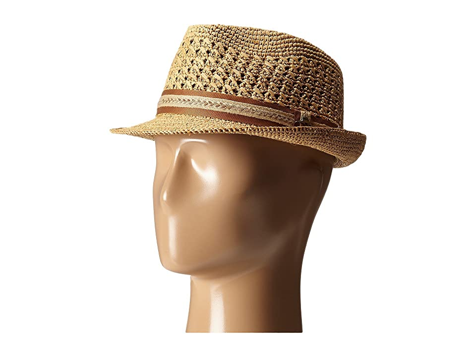 Tommy Bahama Vent Crochet Raffia Fedora (Tea) Fedora Hats