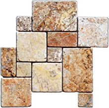 Scabos Travertine 4-Pieced OPUS Mini-Pattern Tumbled Mosaic Tile - Box of 5 sq. ft.