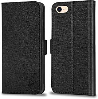 AZOFO iPhone 8 Case, iPhone 7 Case, Genuine Leather iPhone 7 Wallet Case, Flip Cover Folio Book Style, Card Holder Slots, Magnetic Clousure, Stand, Gift Package Compatible iPhone 8 / iPhone 7, Black