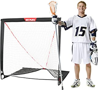 NET PLAYZ 4 x 4 x 4 Feet Lacrosse Goal Fast Install, Fiberglass Frme, Lightweight, Foldable, Portable, Carry bag Included