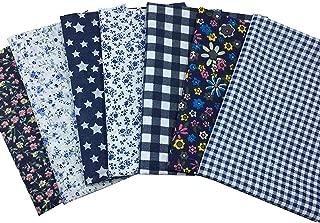 Quilting Fabric, Misscrafts 7pcs 50 x 50cm Cotton Blending Textile Craft Fabric Bundle Fat Quarter Patchwork Pre-Cut Quilt Squares for DIY Sewing Scrapbooking Dot Floral Pattern (Navy Blue)