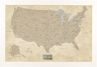 Push Pin Travel Maps Personalized Vintage USA with Textured White Frame and Pins - 27.5 inches x 39.5 inches