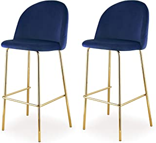 MEELANO Dining Chair Bar Height Gold/Navy