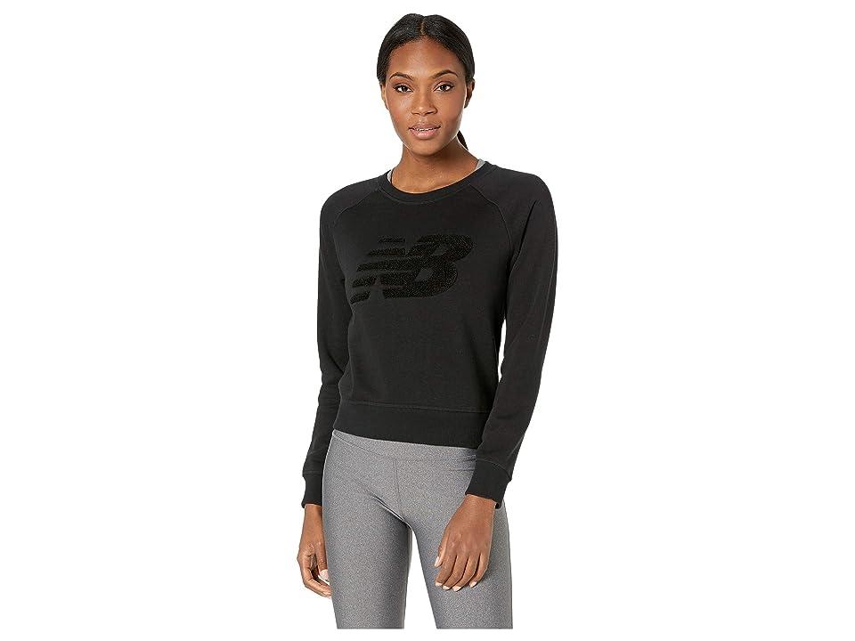 New Balance Chenille Brushed Crew Top (Black) Women