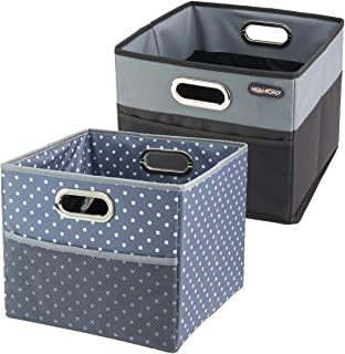 High Road CargoCube Trunk and Car Organizer Bins with Leakproof Lining - Set of 2 (1 Black/1 Polka Dot)