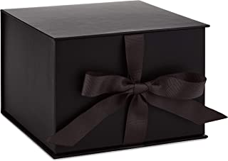 """Hallmark 7"""" Large Black Gift Box with Lid and Shredded Paper Fill for Christmas, Hanukkah, Fathers Day, Graduations, Weddi..."""