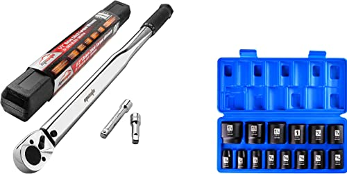 popular EPAuto 1/2-Inch Drive Click Torque Wrench + EPAuto 1/2-Inch wholesale Drive SAE Shallow popular Impact Socket Set, CRV outlet online sale