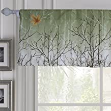 Green Leaf Tree Valance - Anady 1 Panel Rod Pocket Small Short Curtains Green Maple Country Scenery Modern Design Valance 42W 16L(Customized Available)