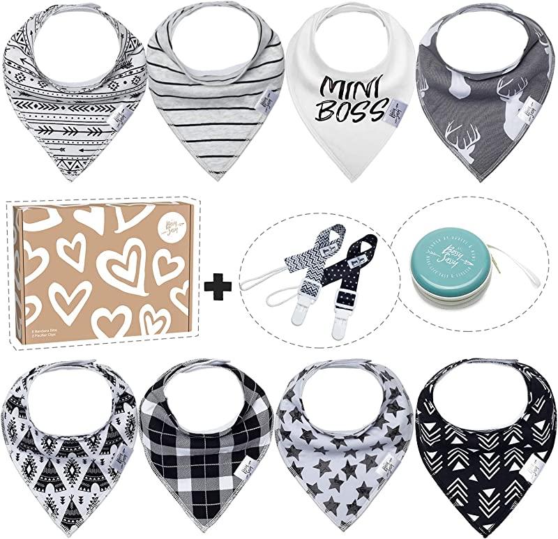 Baby Bandana Drool Bibs For Newborn 8 Pack Teething Baby Bibs 1 Multifunctional Case Best Baby Shower Registry Gift Set For Newborn Boys Girls Unisex By Bossy Sassy