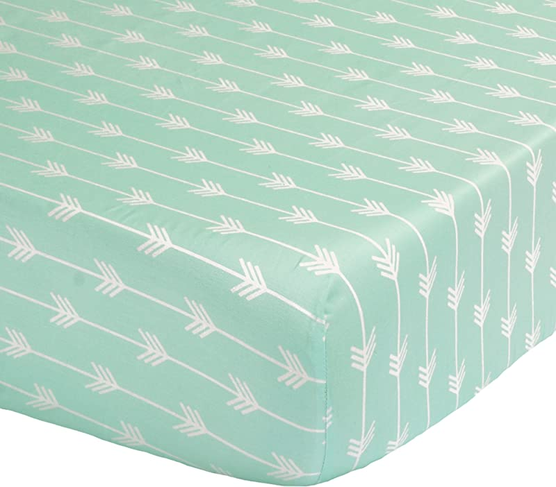 Mint Green Arrow Print Fitted Crib Sheet 100 Cotton Baby Girl And Boy Tribal Theme Geometric Designs Nursery And Toddler Bedding